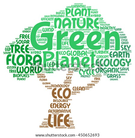 Green planet word cloud concept in tree shape - stock photo