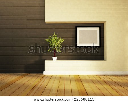 green plant in the white vase and a picture - stock photo