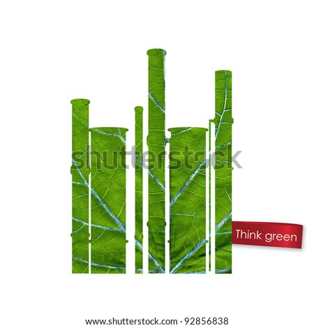 Green plant made from leaf. Think Green. Ecology Concept. - stock photo