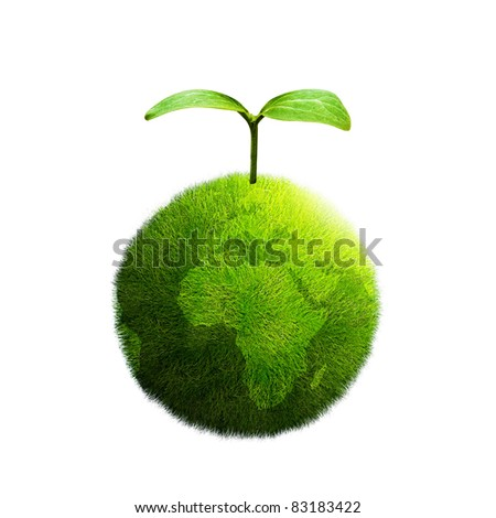 green plant on Earth on a white background - stock photo