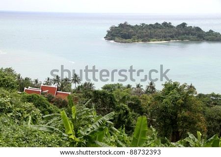 Green plants, trees and roof of bungalo on the Ko Chang island, Thailand - stock photo