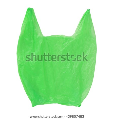 Green Plastic bag empty isolated on white background - stock photo