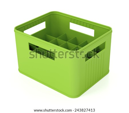 Green plastic beer crate on white background - stock photo