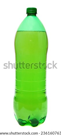 Green plastic bottle with a drink isolated on white background. - stock photo
