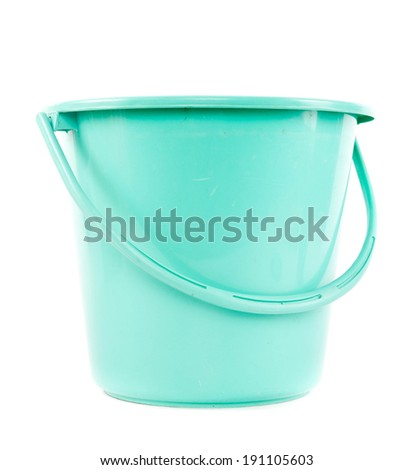 green plastic bucket isolated on white. - stock photo