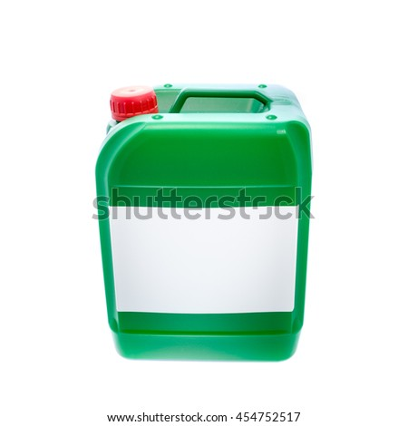 Green plastic canister, container with label; your text here; isolated on white background  - stock photo