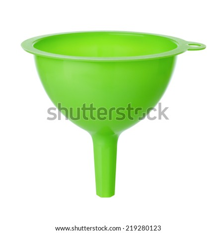 green plastic funnel isolated on white background - stock photo