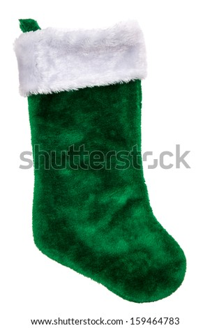 Green plush Christmas stocking isolated on white background - stock photo