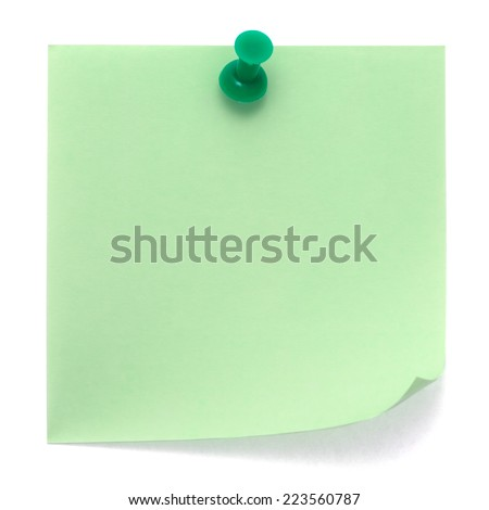Green post-it note pinned on a pure white background. Waiting for your message. - stock photo