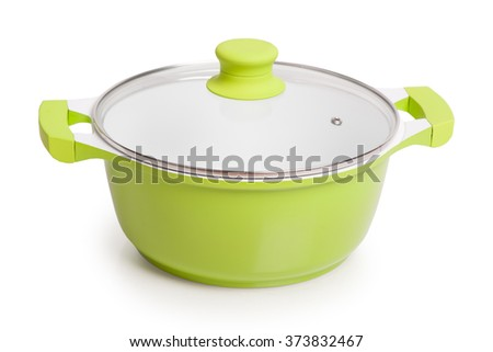 Green pot with lid isolated on white background - stock photo