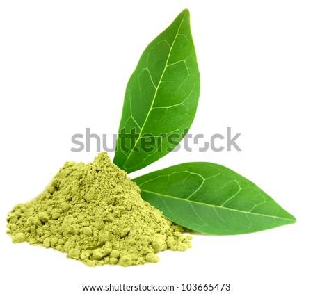Green  powder matcha tea isolated on white. - stock photo
