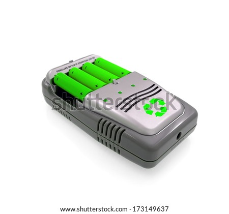 Green power charger  batteries and renewable energy sources - stock photo