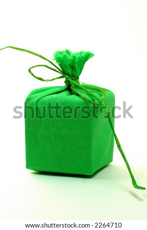 Green present with green ribbon.Present box. - stock photo