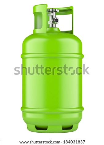 Green propane cylinders with compressed gas isolated on a white background - stock photo