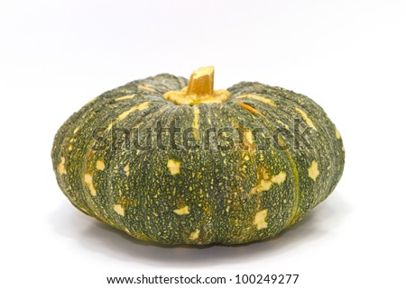 green pumpkin fruit  on white background - stock photo