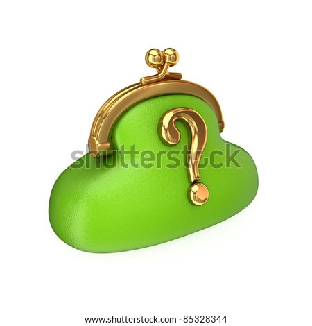 Green purse with a golden query sign. Isolated on white background. 3d rendered. - stock photo