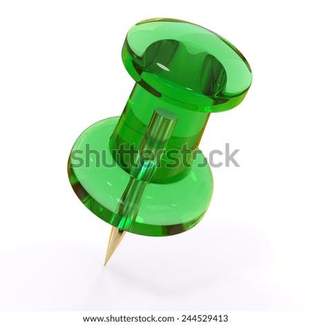 Green push pin - stock photo