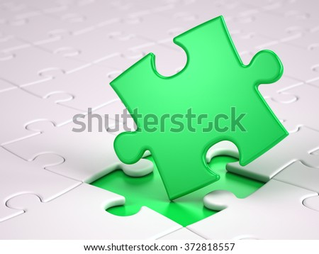 Green puzzle piece - stock photo