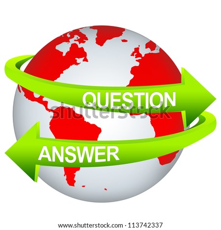 Green Question And Answer Arrow Around The Red Earth For Business Direction Concept Isolate on White Background - stock photo
