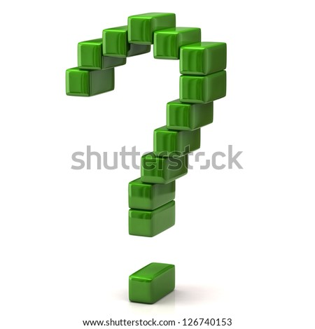 Green question mark made of 3d cubes - stock photo