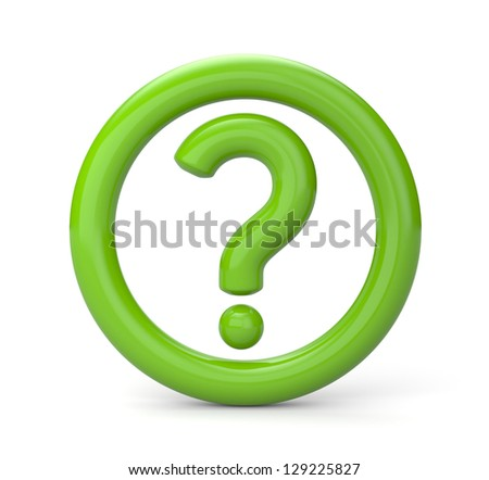 Green question sign - stock photo
