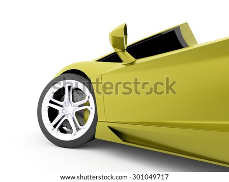 Green race car detail rendered on white background - stock photo