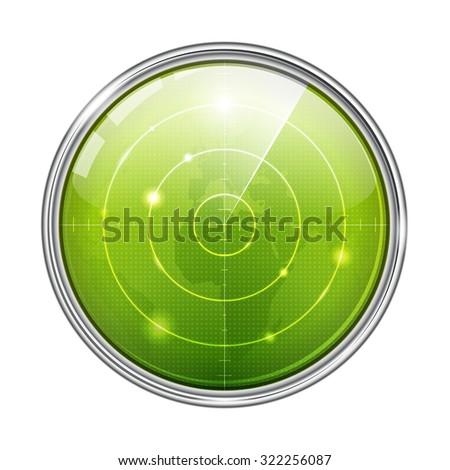 Green Radar Illustration - stock photo