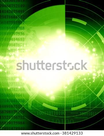 Green radar screen - stock photo
