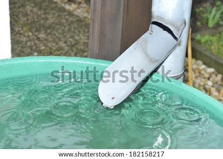 Green recovery of rainwater in a garden. - stock photo