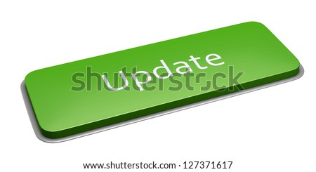 Green rectangle update button isolated on white. 3d illustration. - stock photo