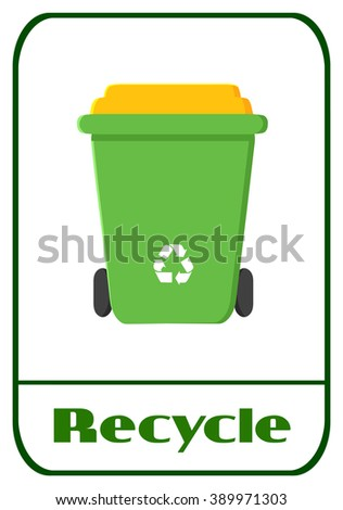 Green Recycle Bin Modern Flat Label Design With Text Recycle. Raster Illustration Isolated On White Background - stock photo