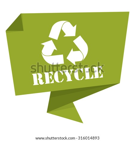 Green Recycle Paper Origami Speech Bubble or Speech Balloon Infographics Sticker, Label, Sign or Icon Isolated on White Background - stock photo