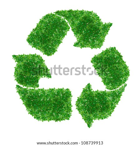 Green  recycle Sign made from grass isolated on white. - stock photo