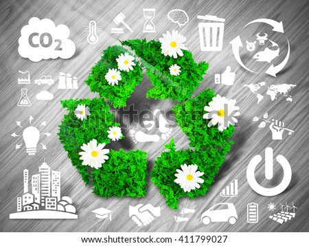 Green recycle sign on grey wooden background with eco related icons. 3D illustration. - stock photo