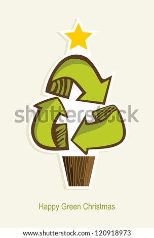 Green Recycle symbol Christmas tree in cartoon style. - stock photo