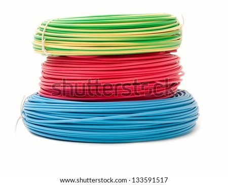 Green, red and blue wire bundles isolated on white. - stock photo