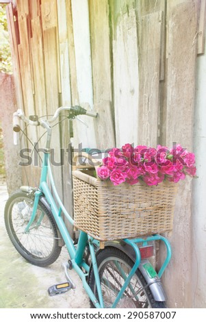 green retro bicycle with basket and rose flowers with Soft Focus Color Filtered background - stock photo