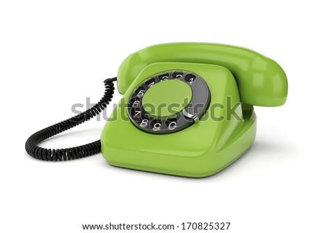 Green retro rotary dial telephone isolated on white background. Realistic 3D render. - stock photo