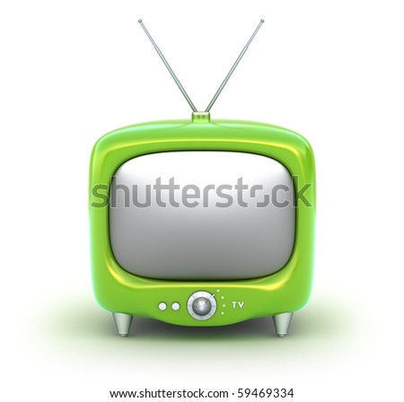 Green retro TV Set. Isolated on white background. My own design. - stock photo