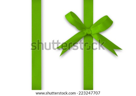 Green Ribbon and bow on a white background. - stock photo