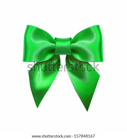 Green ribbon bow isolated on white background - stock photo