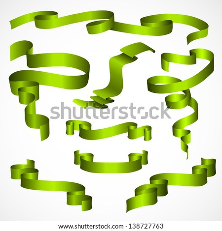 Green Ribbons Set, Isolated On White Background - stock photo