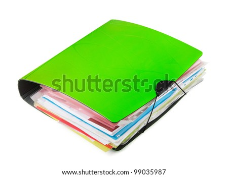 Green ring binder with documents isolated on white - stock photo