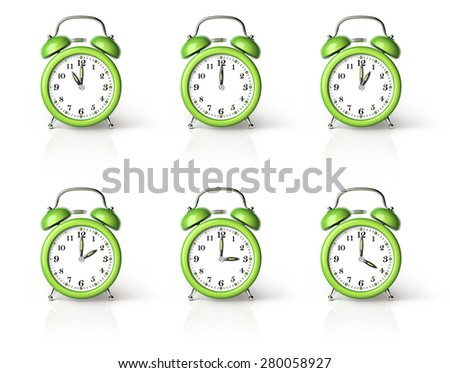Green ringing alarm clock isolated on white background - stock photo