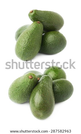Green ripe avocado fruits composition isolated over the white background, set of two different foreshortenings - stock photo