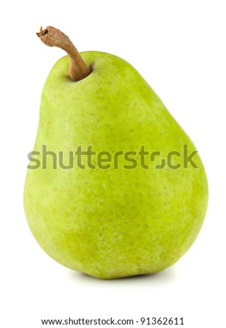 Green ripe pear isolated on white background - stock photo