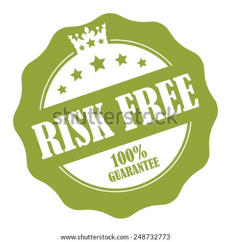 Green Risk Free 100% Guarantee Stamp, Badge, Icon, Label or Sticker Isolated on White Background  - stock photo