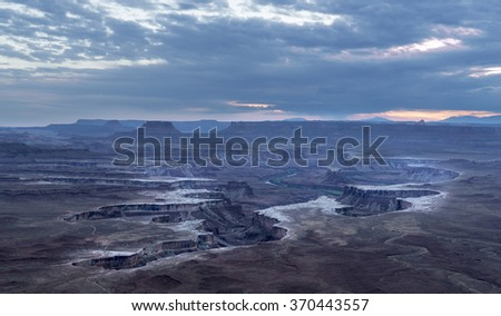 Green River overlook, Canyonlands National Park at sunset - stock photo