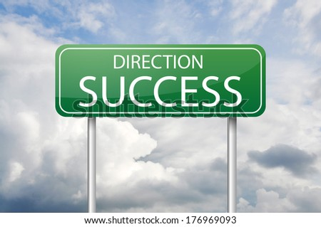 """Green road sign """"Direction Success"""" - stock photo"""