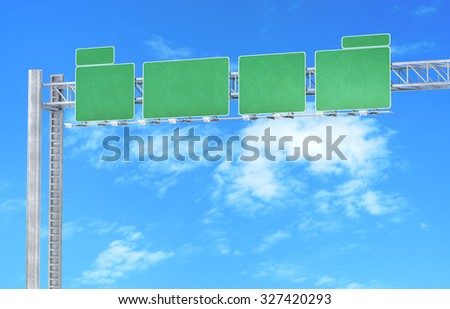 Green road signs - stock photo